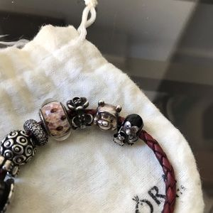Pandora Jewelry - Pandora leather bracelet with 6charms 3spacers